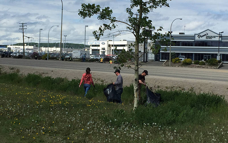 Fort St.John employees beautifying their community as part of Pitch-In-Week